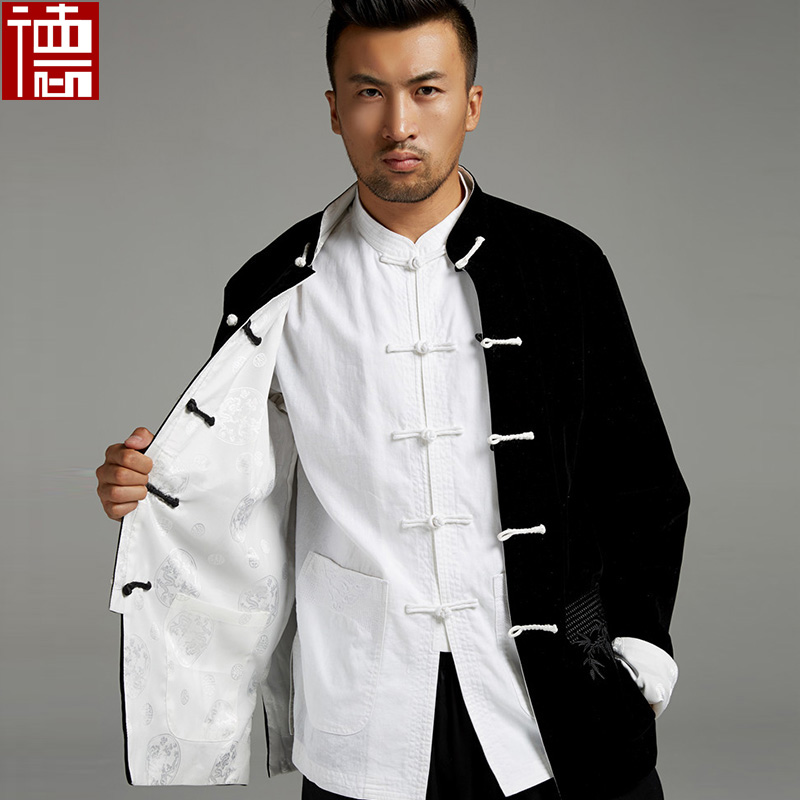 New High Quality Chinese velvet reversible jacket men clothes kung fu uniforms Martial arts Clothing Outerwear Tang suits coat new pure linen retro men s wing chun kung fu long robe long trench ip man robes windbreaker traditional chinese dust coat