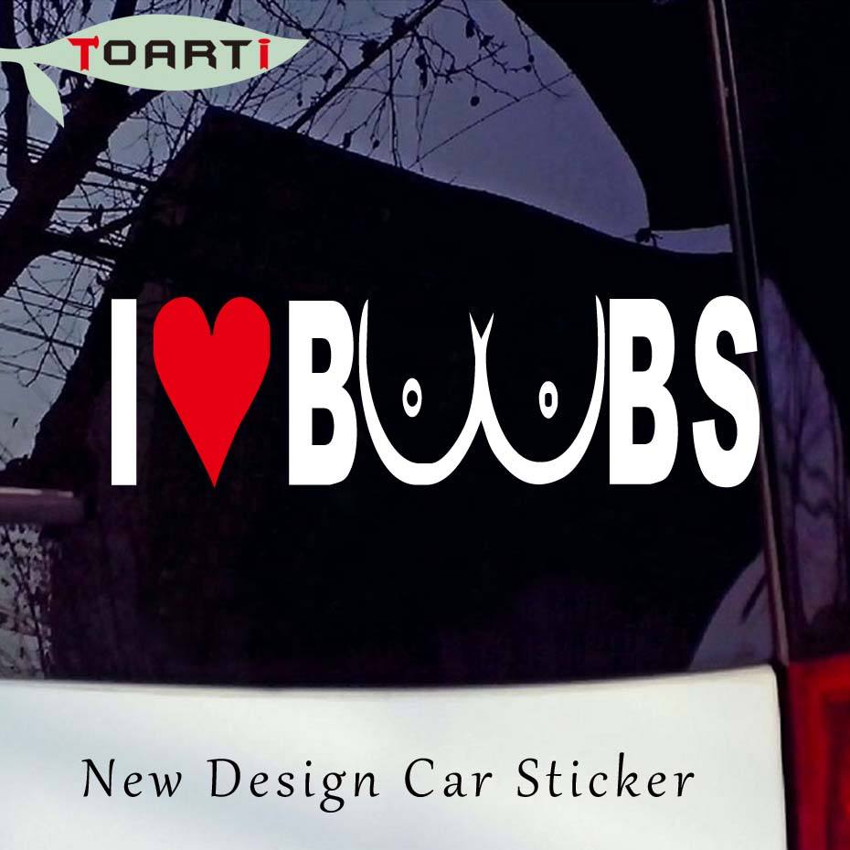 Color Name: Silver 20X8CM I Love Boobs Humor Car-Styling Vinyl Decal Car Sticker Black/Silver S8-0385 Exterior Accessories