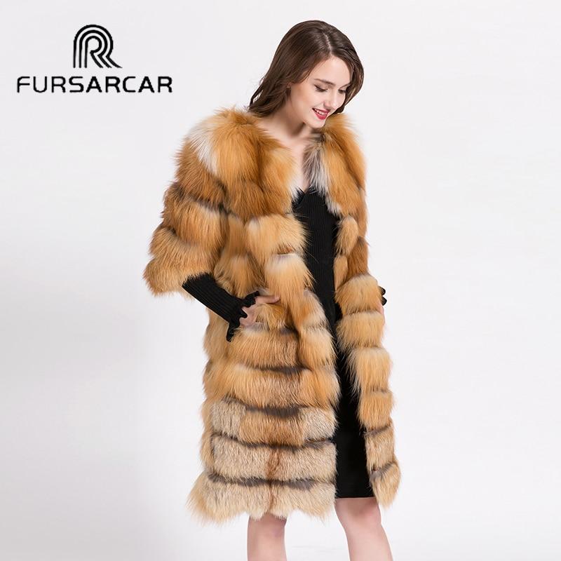 FURSARCAR Vysoce kvalitní Luxusní Zlato Fox Fox Coat Ženy Zimní - Dámské oblečení