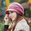 Autumn Winter Rabbit Fur Beanies Knitted Caps Hight Quality Thickening Woolen Hats Warm Cashmere Thermal Casual Cap For Women