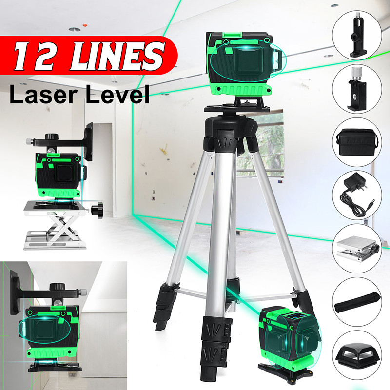 12 Lines Blue Lines Laser Level+Tripod Green Self-Leveling 3D 360 Horizontal And Vertical Outdoor Powerful Laser Beam