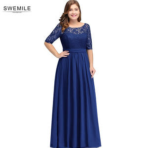 Swemile Charming Half Sleeve Lace Plus Size Evening Dress  Sexy O Neck Deep V Back Part Gown Robe de Soiree Longue