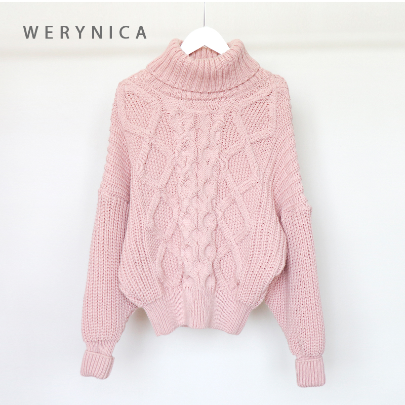 Werynica Women's Sweater Turtleneck Winter Clothes Women Oversized Sweater Poluver Large Thick Knitting Korean Style Women Chic