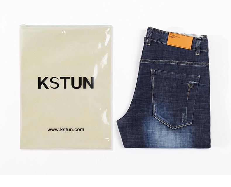 KSTUN Men Jeans Famous Brand 2019 Slim Straight Business Casual Dark Blue Thin Elasticity Cotton Denim Pants Trousers pantalon 19