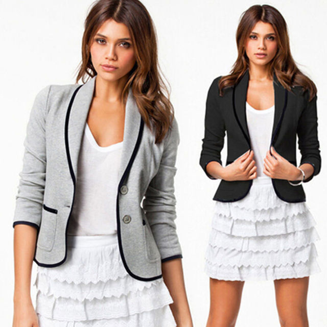 4ae0524f58 Casual primavera nueva recta mujeres mujeres 2016 Blazer ropa manga moda  Blazer pequeño larga de mujer aOZP5Cwqx
