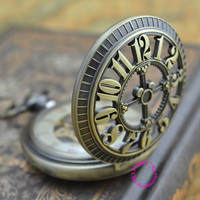 wholesale buyer mechanical pocket watch men new bronze retro vintage fob watches classic arabic number with chain good quality