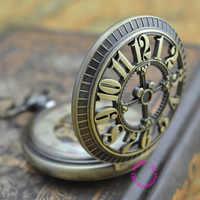 Großhandel käufer mechanische taschenuhr männer neue bronze retro vintage fob uhren klassische arabisch anzahl mit kette gute qualität