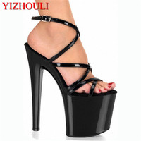 Fashion sexy high heeled shoes 20cm high heels sandals thin heels strappy 8 inch platform t plus size sexy women's rome shoes