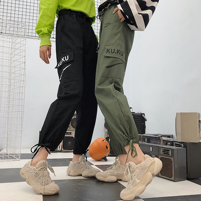 Image 3 - Pants Women High Quality Cargo Ankle Length Trousers Soft Harajuku Korean Style Womens Trendy Solid Pockets Casual All match New-in Pants & Capris from Women's Clothing