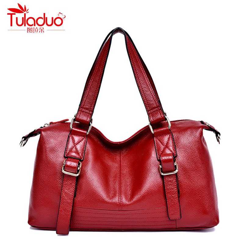 TULADUO Genuine Leather Female Handbag Fashion Solid Shoulder Bag Women Larger HandBags Fanous Brand Tote Bag 2018 New Sac luxy moon women bag genuine leather composite bag women s handbag fashion casual cowhide larger tote female shoulder bag zd705