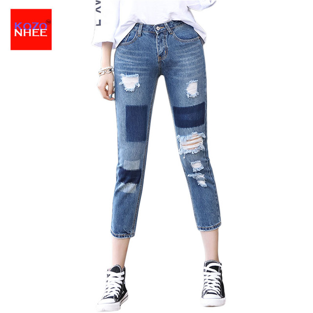 Denim Patch Ripped Jeans For Women With High Waist Ankle-Length Women's Torn Jeans Straight Large Size