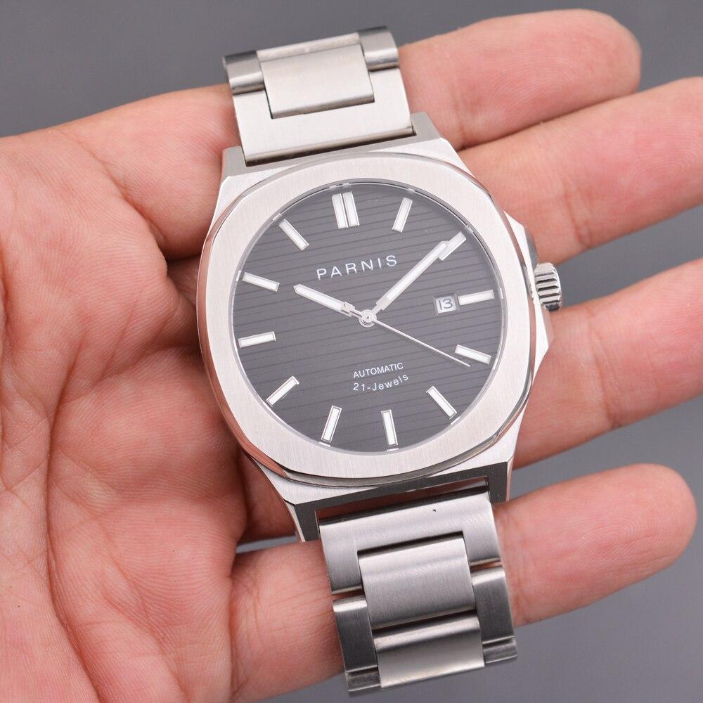 45mm parnis Sapphire Men Watch MIYOTA Mechanical Watch Steel Strap Luminous