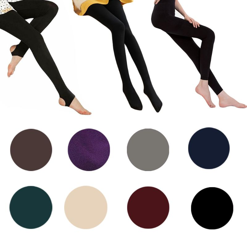 Womens High Waist Stretchy Thicken Velvet Tights Warm Solid Color Skinny Footless/Footed Thermal Ankle Slim Full Lengt