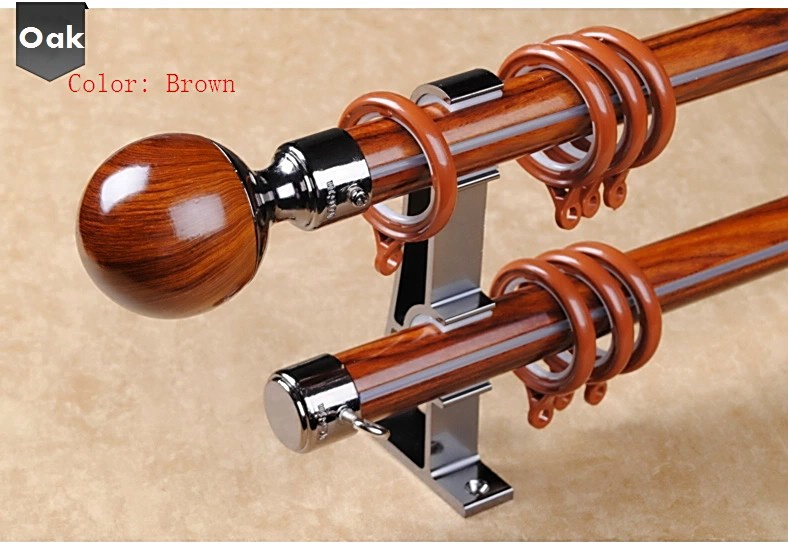 Luxury 17mm Curtain Rods Thickness Aluminum Alloy Wood Color 100cm Length Deep Nickel Style Double Pole For Window In Decorative
