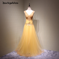 Luxury Gold Purple Long Beading Evening Dress Red Burgundy Double V Neck Sexy Women Evening Gowns Prom Party Formal Dresses 2017