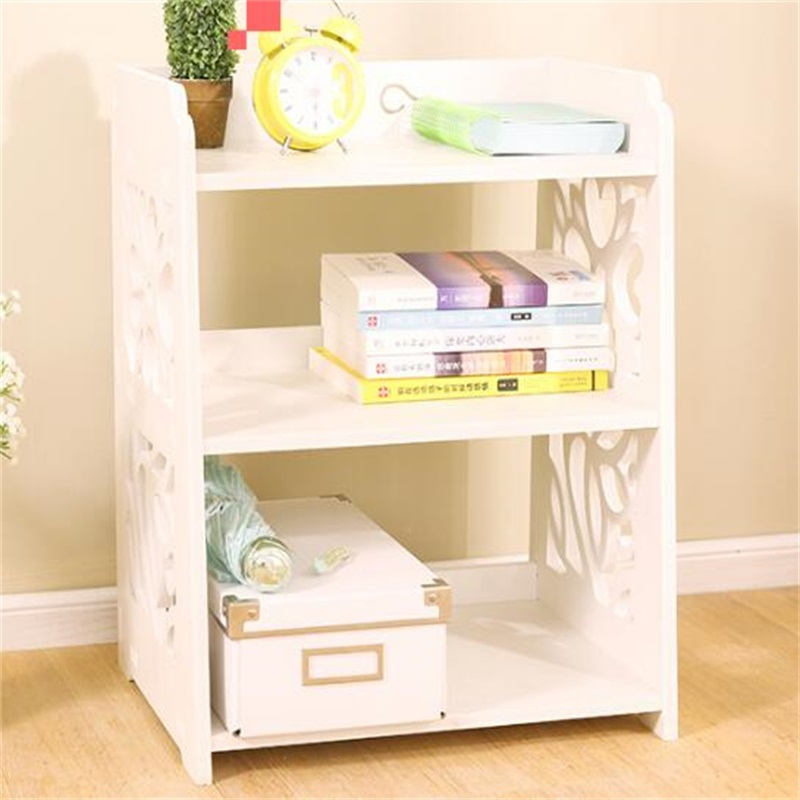 40x30x50CM Modern Bookshelf Double Layer Bookcase Wood Bedside Table Sofa  Side Table Living Room Storage