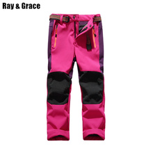 Children Softshell Pants Outdoor Waterproof Fleece Winter Hiking Trekking Camping Sports Pants For Kids Boys Girls Teens Trouser
