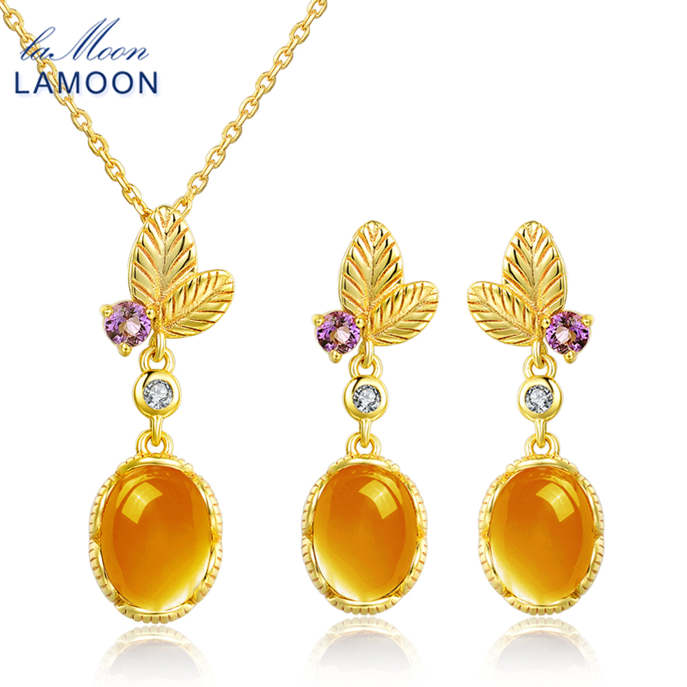 LAMOON Amber 925 Sterling Silver Jewelry Sets Classic Flower 100% Natural Yellow Citrine Yellow Women's Plants Jewelry Set New