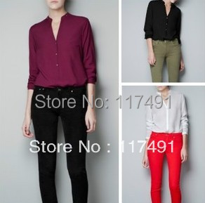 Spring Autumn new fashion Women's solid color simple classic cotton Shirt V neck long sleeve casual slim pullover Top 091
