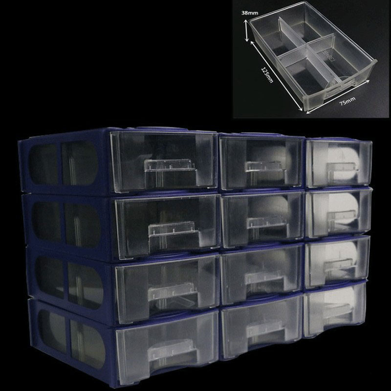 12PC/Set Drawer type component box organizers Tool Box Container Hardware Drill screw parts storage box