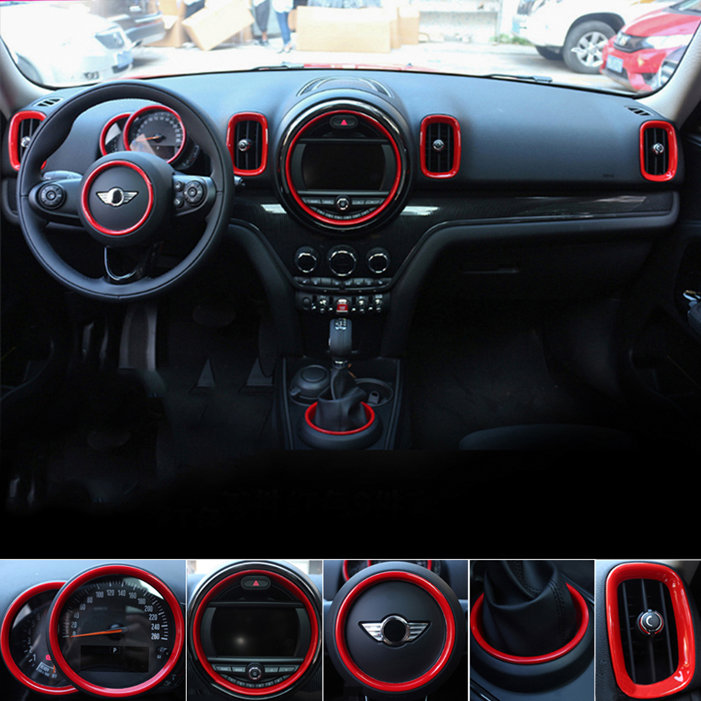 Car Center Console Rings Gear Shift Steering Wheel Circle Vent Cover Case For Mini Cooper F60 Countryman Car Styling Accessories 3pcs oem black piano paint chrome car center console air condition vents for passat b6 b7 cc r36 3ad 819 701 a 3ad 819 702 a