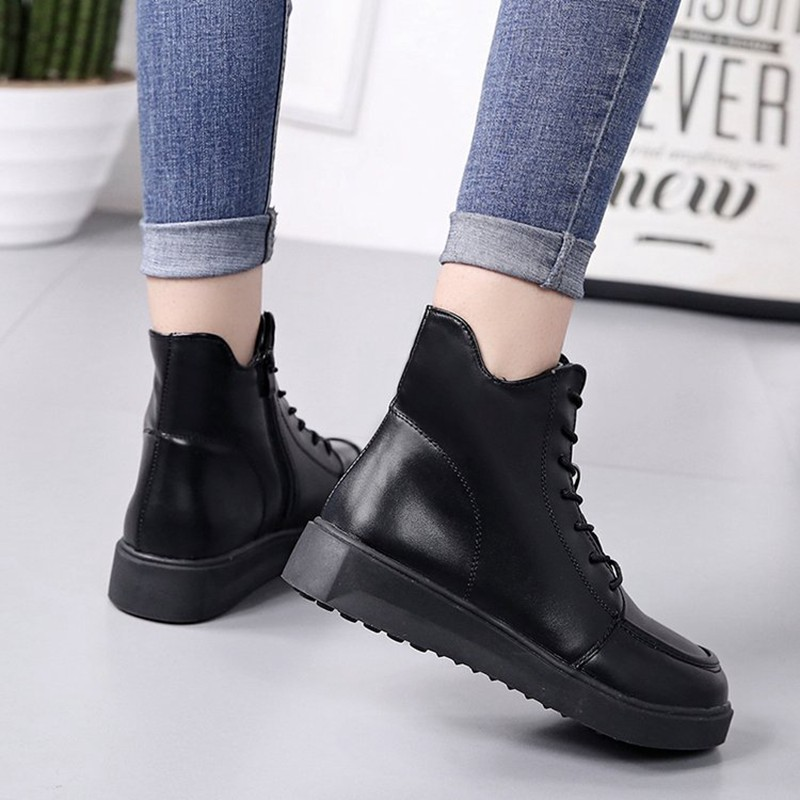 COOTELILI Plus Size Women Rubber Boots Women High Quality Black Flat Boots Fashion Winter Ankle Boots For Women 35-40 (7)