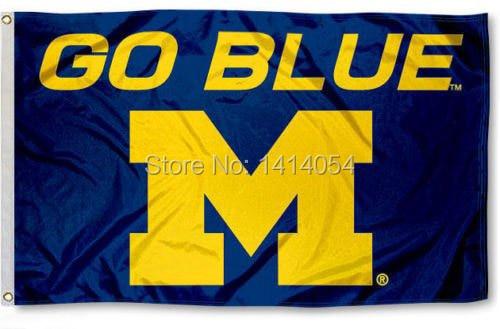 Universidad de Michigan Wolverines go Bandera Azul 150x90 cm NCAA 3X5FT banner 100D poliéster ojales custom009, envío libre