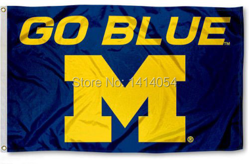 University of Michigan Wolverines Gehen Blau Flagge 150X90 CM NCAA 3X5FT Banner 100D Polyester ösen custom009, freies verschiffen