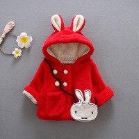 الشتاء الدافئ gilrs طفل الرضع أرنب الأذن مقنع أبلى casaco + أرنب حقيبة