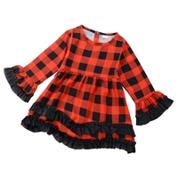 Girl Plaid Dress Spring Red Wedding Party Dresses Princess Long Sleeved Kids Girls Dress Children Clothing