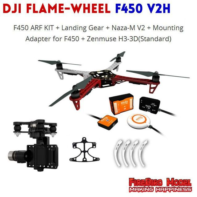 US $1065 0 |DJI Flame wheel F450 V2H ARF Quadrocopter, Configuring NAZA M  V2 flight controller ,GPS and 3D Gimbal ,DIY your FPV Drone-in Remote