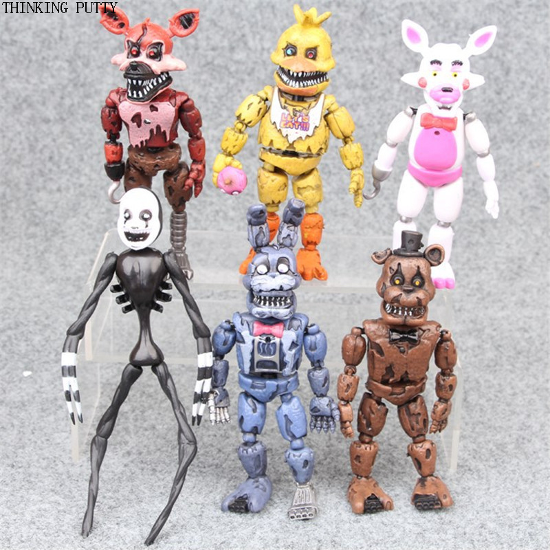 6pcs/set Anime Five Nights At Freddy's Action Figure Toys FNAF Bonnie Foxy Freddy Fazbear Bear Doll Toy For Kids Christmas Gif