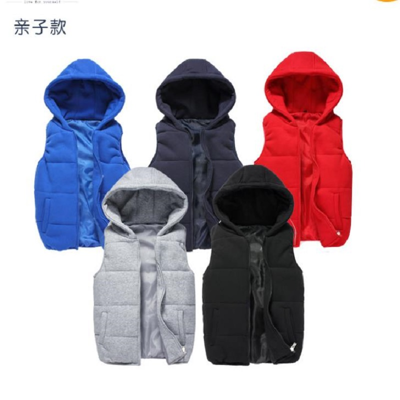 Parents and children's cotton-padded clothes coat, 2018 winter mather children's knitted hooded vest fashion front zipper reversible cotton padded hooded vest for men