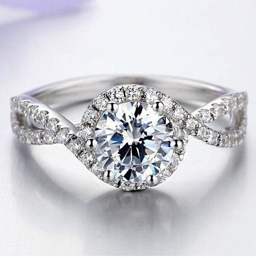 1Ct مصنع شكل عالية الجودة 925 شكل مُعين من الفضة الاسترليني خاتم للنساء الكلاسيكية الذكرى مجوهرات هدية-في خواتم من الإكسسوارات والجواهر على  مجموعة 1