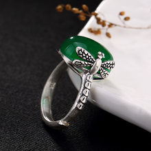 silver S990 Silver Dragon Dragonfly carving engraved jade pomegranate red corundum opening lady high-end ring wholesale(China)