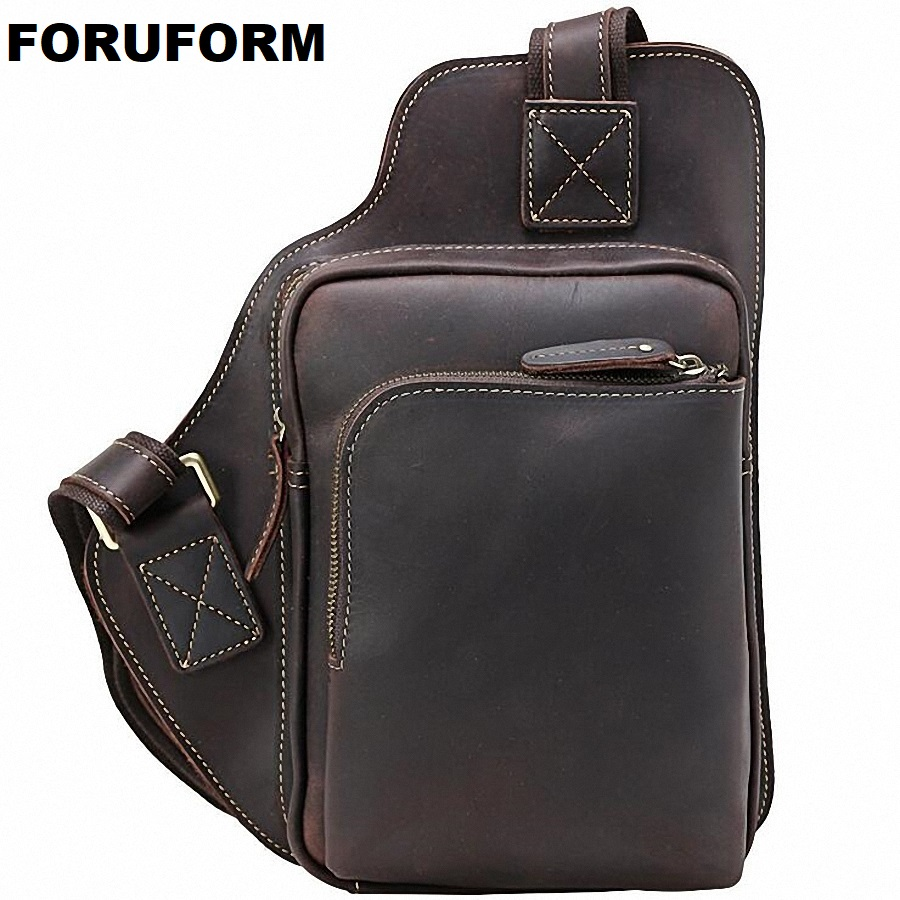 Men leather chest crossbody bag Casual men messenger bag high quality chest waist pack genuine leather messenger bag men LI-1858 high quality casual men bag