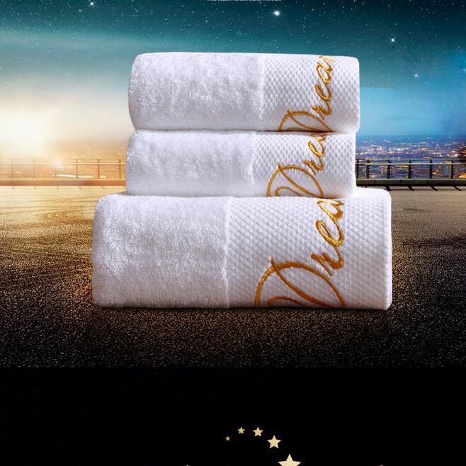 Luxury Cotton White 3pcs Bath Towel Set White Embroidered Beach Towel Hotel Towel Sets