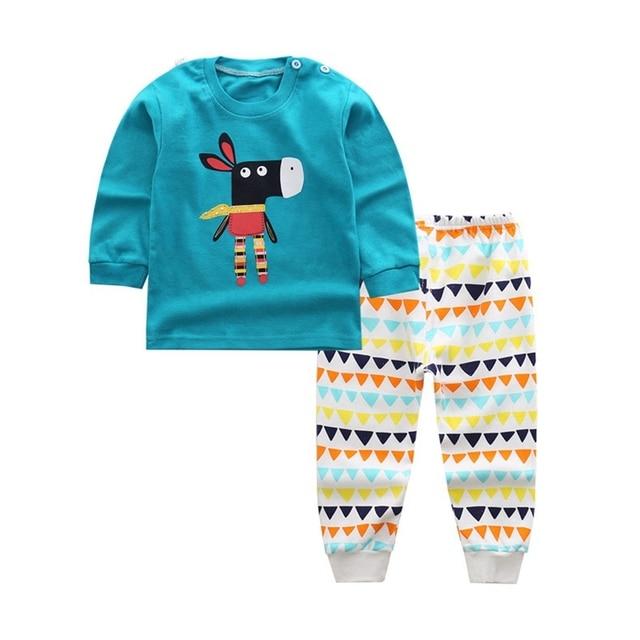 02b87cb61e87 2018 Boy s clothing Sets Animal style Bear Children pajamas suit sleepwear  cotton baby sets Girls long sleeve shirts+trousers