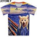Novo 2016 Crianças Camisa 3D T Topos de Design Da Marca Menino T-Shirt do Verão menina Gato Animal Print Roupa de Manga Curta Legal roupas