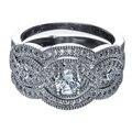 2017 hot moda de Alta Qualidade cor prata da festa de casamento de cristal de noiva set DUBAI conjuntos de anéis de dedo anéis de zircão branco 3 pcs