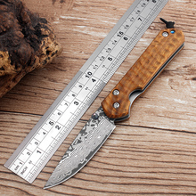 Hot Damascus folding knife carving Cocobolo handle camping survival hunting knives Pocket tactical knife best gift free shipping