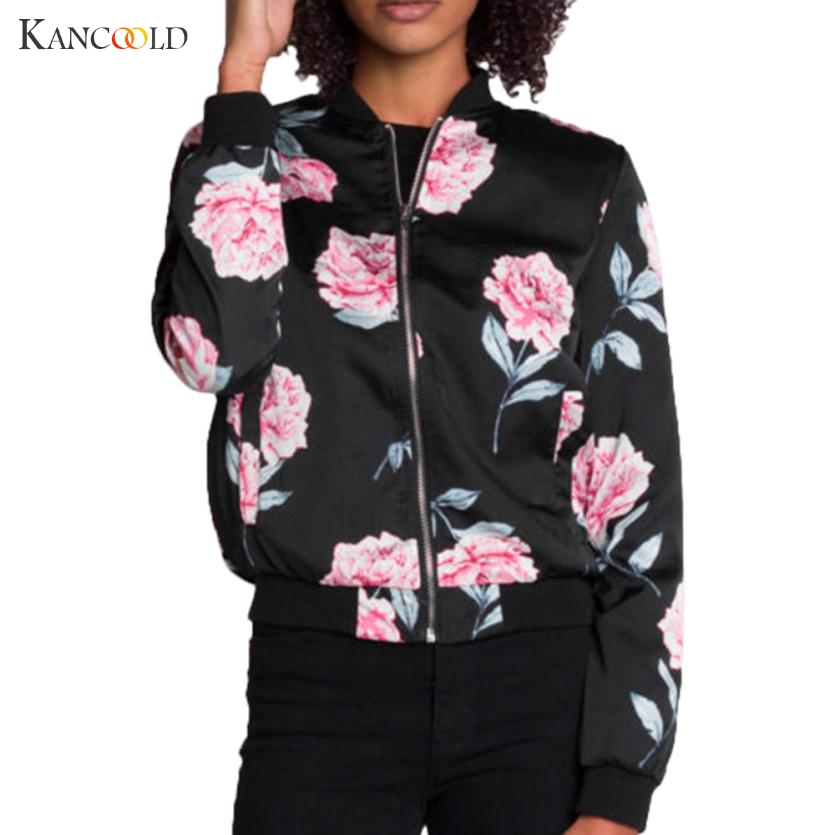 Womens Autumn Casual Floral   Jackets   Ladies Pocket Zipper Front Stand Collar Long Sleeve   Basic     Jacket   Coat Outwear Women JY243N