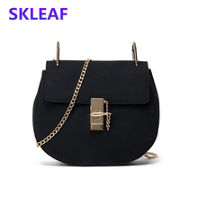 2016 winter new scrub leather shote bag casual lockbutton small shoulder bag women fashion chain messenger bags