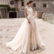 Longo sereia vestidos de casamento renda 2021 com tule trem destacável para noiva vestido de baile noiva