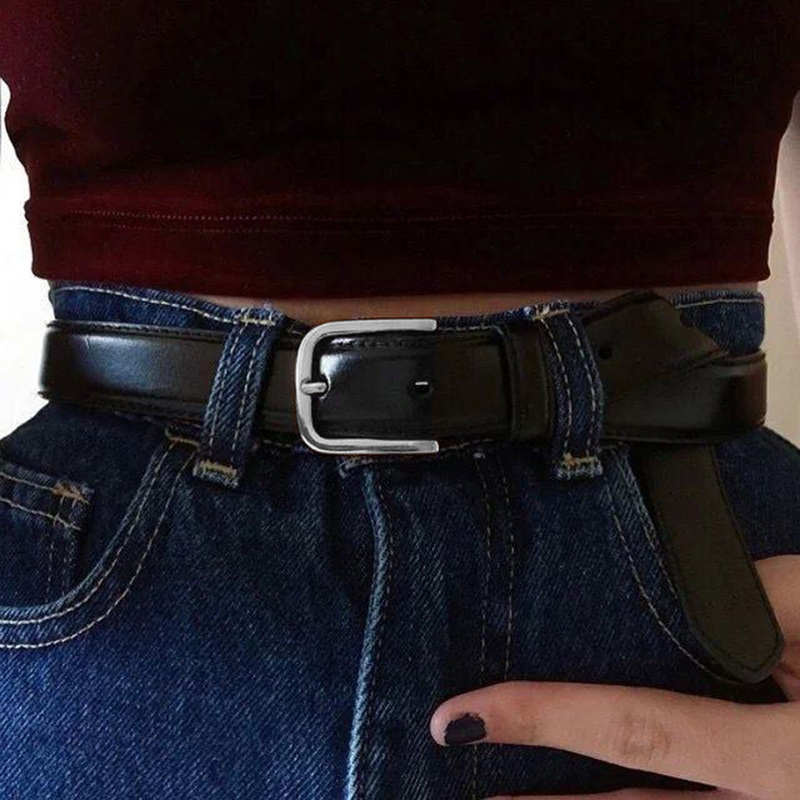 Fashion Female Antique Black Belt Metal Buckle Jeans Woman Faux Leather Belt