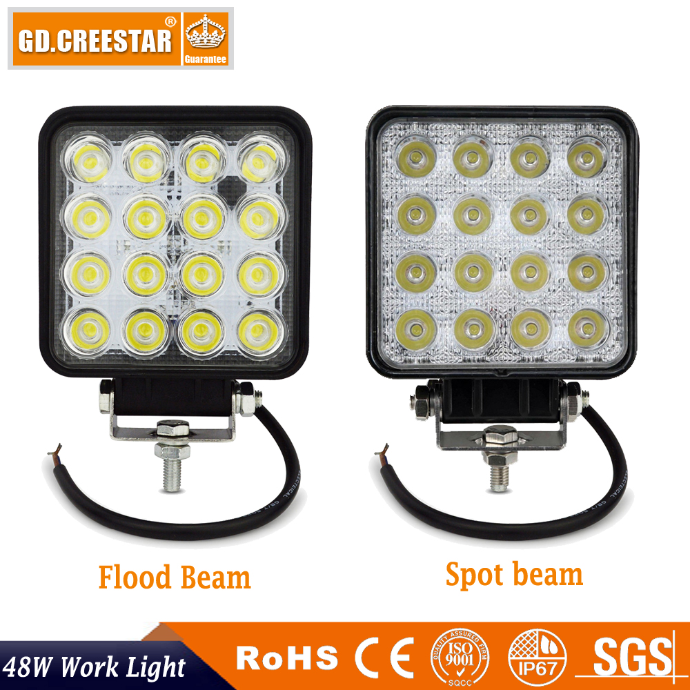 GDCREESTAR 16led 4Inch 48W LED Work Light for Indicators Motorcycle Driving Offroad Boat Car Tractor Truck 4x4 SUV ATV Flood x1 1pcs 48w led work light for indicators motorcycle 30 flood beam driving offroad boat car tractor truck 4x4 suv atv 12v 24v