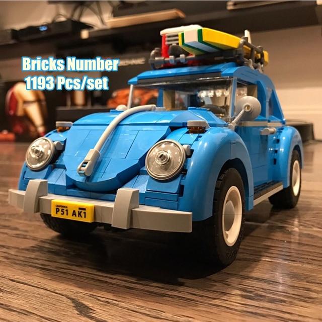 New Blue Car Beetle fit legoings technic city car classical model Building Blocks bricks 10252 boy diy Toy kid gift