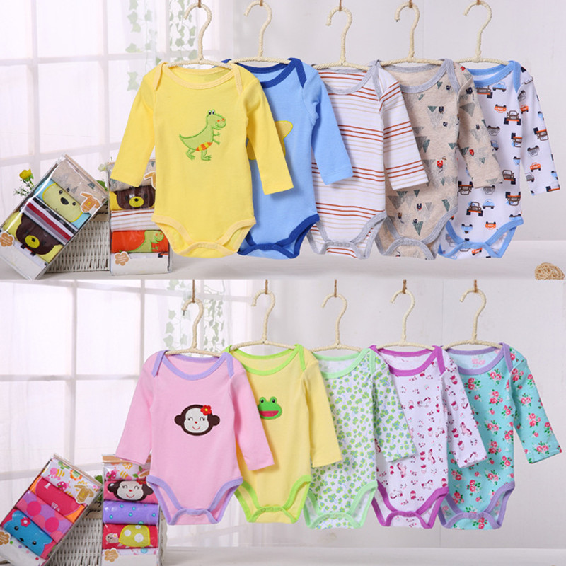 5Pcs lot For Age 0 24M Baby Full Sleeve Rompers Baby Boy Jumpsuit Newborn Baby Girls Cotton Rompers Infant Jumpsuits Roupas Bebe in Bodysuits from Mother Kids
