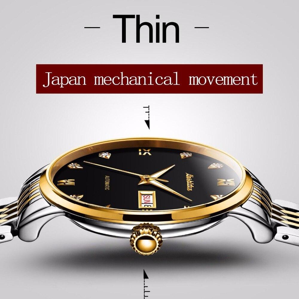 JSDUN человека механические часы лучший бренд класса люкс кубический циркон Для мужчин Бизнес часы Золотой Мужской часы кожаный Автоматическ... ...