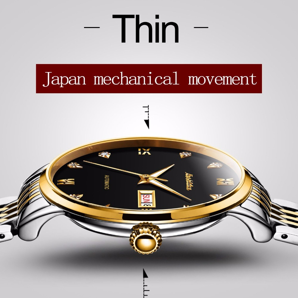 JSDUN Top Brand Luxury Mechanical Watches Gold Dial Cubic Zircon Men Business Watch Male Clock Leather Automatic Wristwatch 8817 jaragar top brand tourbillon automatic mechanical diamond dial clock wtaches men classic luxury business leather wristwatch uhr
